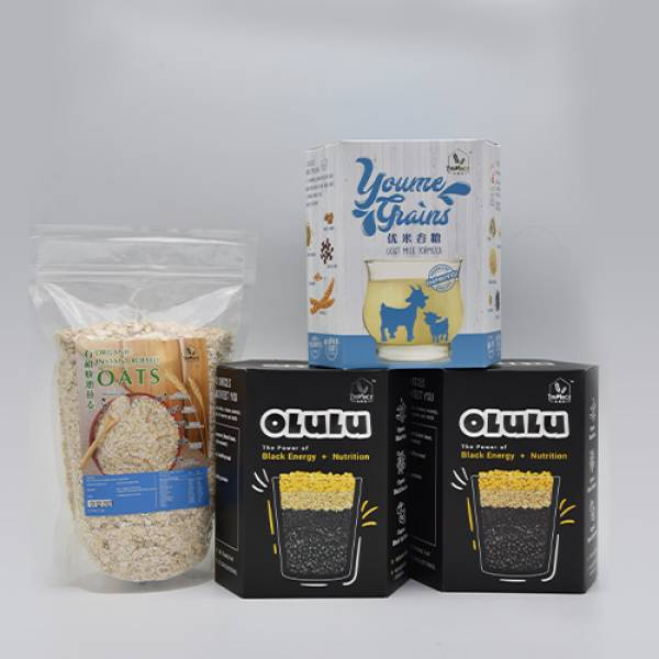 1 Box Youme Grains + 2 Boxes Olulu + Oatmeal